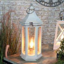 White wash wooden table lamp lantern style vintage retro shabby chic lighting