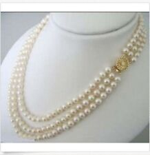 17-19'' 3 ROWS 7-8MM White Akoya Cultured Pearl Choker Necklace JN285