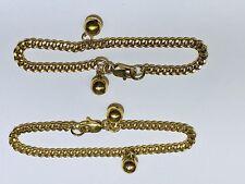 "18k Yellow Gold Baby Ball Charm Bracelet Or Anklet. 1 Pair. Length 5.5"" Each"