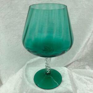 Vintage Green Glass Oversized Brandy Balloon. Spiral Twist Clear Stem & Rib Bowl