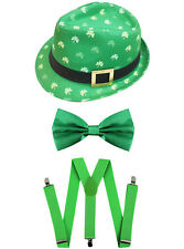 IRISH TRILBY HAT GREEN BOW TIE AND BRACES ST PATRICKS DAY FANCY DRESS OUTFIT