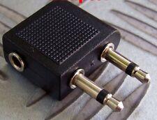 2x (twinpack) AIRCRAFT HEADPHONE ADAPTOR TO 3.5mm STEREO SOCKET AIRPLANE