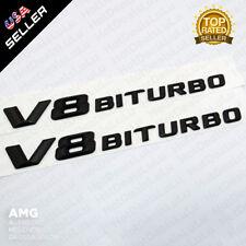 ABS Matte Black V8 BITURBO Side Fender Logo Nameplate Emblem AMG Decoration 2pcs