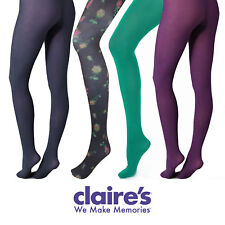 CLAIRES Ladies Womens Tights Floral Print Plain Coloured Dance Microfibre S M L