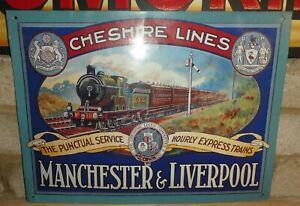 Vintage 1970's Manchester Liverpool Cheshire Lines Tin Train sign British rail