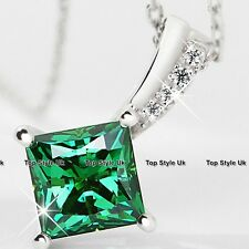 Green Princess Diamond Crystal Necklace Silver 925 Love Presents for Her WE1