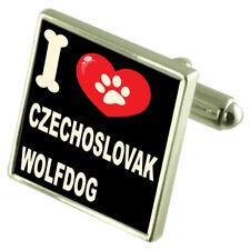 """Silber 925 Manschettenknöpfe & Bond Geldklammer - """" I Love Tschechoslowakei Wolf"""