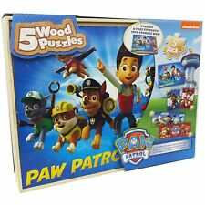 Paw Patrol 5 Wood Puzzles in Wooden Storage Box New Sealed