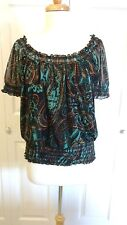 CHA CHA VENTE Womens Peasant Top Blouse S EUC! BEAUTIFUL!