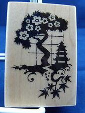 NEW INKADINKADO WOOD MOUNTED RUBBER STAMP BONSAI PAGODA FLOWER TREE 99610 326