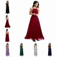 Women Criss Cross Backless Long Maxi Evening Formal Party Dress Bridesmaid Dress