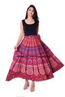 Paon Mandala Rapron Imprimé Coton Long Taille Jupe Indien Femme Enroulé
