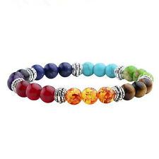 Hot Women 7 Gemstone Chakra Lava Rock Stone Prayer Reiki Bead Bracelet BangleHU