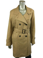 Talbots 14 Coat Jackets Khaki Tan Double Breasted Belted Tie Waist Womens