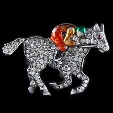 ANTIQUE VICTORIAN DIAMOND RACE HORSE BROOCH WITH JOCKEY 1.35CT DIAMONDS