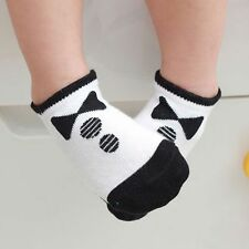 Kids Baby Black/White Anti Slip Socks Boy Girls Cute Style Breathable Socks HOT
