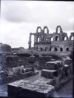 TUNISIE El Jem El Djem Amphithéâtre, NEGATIF Photo Stereo Plaque Verre VR10L11n1