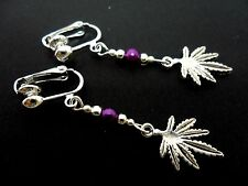 A PAIR OF  TIBETAN SILVER WEED/CANNABIS LEAF CLIP ON  EARRINGS. NEW.