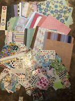 Huge Lot Of Scrapbook Supplies ~ 146 Sheets Paper, 1.6 lbs Of Stickers ~