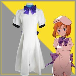 Higurashi When They Cry Hou Ryugu Rena Cosplay Costume White Uniform Dress + Hat