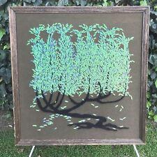EMBROIDERY ART 1960s Original HAND MADE VINTAGE MID CENTURY MODERN Tree w Leaves