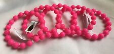 Chic Neon Hot Pink Rubber Set Of Five Bangle Bracelets- New