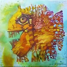 Pez oro/original al óleo sobre lienzo estirada por Sergej hahonin/30 X 30 Cm