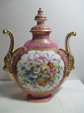 19th C Sevres Gilt Porcelain Ornate Pillow Vase Urn Pink Flower Basket