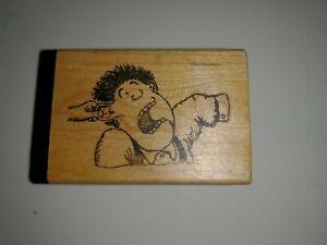 Rubber Stamp Wood Mount VTG Cartoon Artist Boy Guy Man Getting Ear Pulled