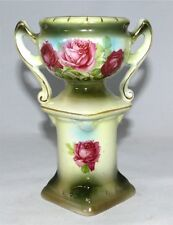 Antique Austrian Vase Urn 1920's Austria Hand Painted Roses On Pedastal