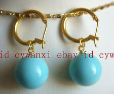 New 14mm Turquoise Blue South Sea Shell Pearl Dangle Earrings AAA+