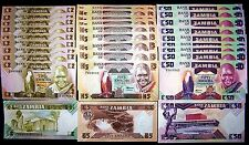 30 Zambia banknotes-10 x 2,5&50 Kwacha currency notes-1980-1988 series