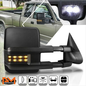 For 88-02 Chevy/GMC C/K Truck Power Black Towing Mirror w/Smoked LED Lamp Right
