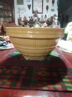 """Vintage 10"""" Yellowware Mixing Bowl With Square Bottom"""