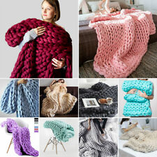 Super Large Chunky Knit Blanket Throw Hand-Made Chunky Bed Sofa Throw Bulky Mat