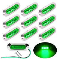 10X Side Marker Green 4 LED Light Indicator Lamp For Trailer Truck Lorry 12-24V