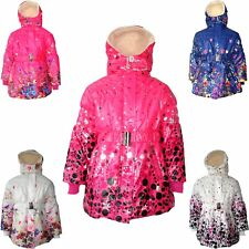 New Girls Coat School Padded Hooded Jacket Age 3 5 7 8 9 11 13 years Waterproof