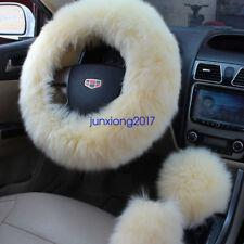 3Pcs Long Plush Fuzzy Steering Wheel Cover Beige Wool Handbrake Car Accessory