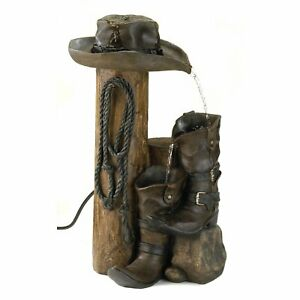Western Cowboy Boots and Hat Cascading Outdoor Water Fountain Free Shipping NEW