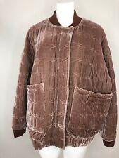 asos Women's 8 Leave Velvet Quilted Zip Front Bomber Jacket Loose Fit