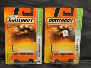 Lot of 2, 2008 MATCHBOX OUTDOOR SPORTMAN #79, VOLKSWAGEN T2 BUS, Orange, MOC!