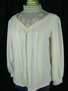 Vtg 70s Ivory Crepe Gunne Style High Neck Lace Blouse-Bust 37/S