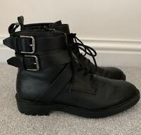 Women's Black Espirit Faux Lace Buckle Side Zip Ankle Boots UK 7 Eur 40 VGC