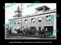 OLD LARGE HISTORIC PHOTO OF SEATTLE USA, THE GEORGETOWN FIRE STATION c1915