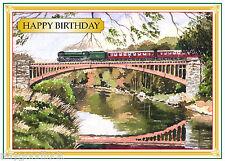 STEAM LOCO TRAIN VICTORIA BRIDGE SVR  PAINTING BIRTHDAY CARD FREE POST 1ST CLASS