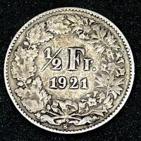 Switzerland : 1/2 Franc 1921 B- Bern  Silver Coin~ KM#23.  #2