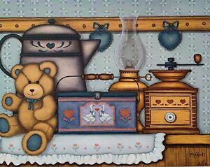 TEDDY BEAR SITTING by McCarroll Hand Signed Art Giclee on Canvas Art