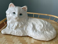 Vintage Pottery Cold Painted White Cat With Bow Planter. Possible McCoy