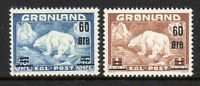 Greenland Sc 39-40 1956 60 ore surcharged Polar Bear stamp set mint NH