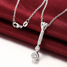 Wholesale 925Sterling Silver Jewelry Long Bar Round Zircon Woman Necklace NB826